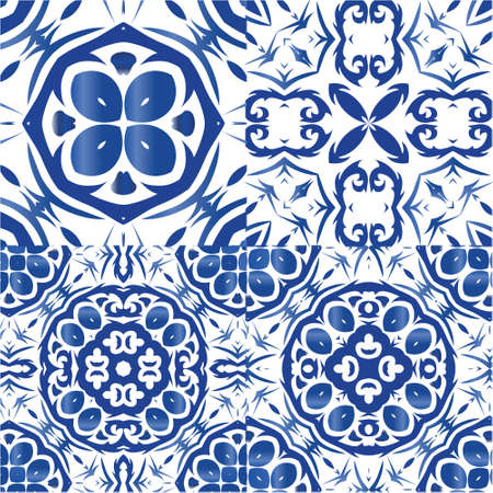 Portuguese vintage azulejo tiles. Kit of vector seamless patterns. Bathroom design. Blue antique backgrounds for pillows, print, wallpaper, web backdrop, towels, surface texture.