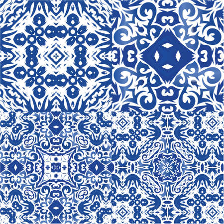 Ornamental azulejo portugal tiles decor. Graphic design. Kit of vector seamless patterns. Blue gorgeous flower folk prints for linens, smartphone cases, scrapbooking, bags or T-shirts. Illustration