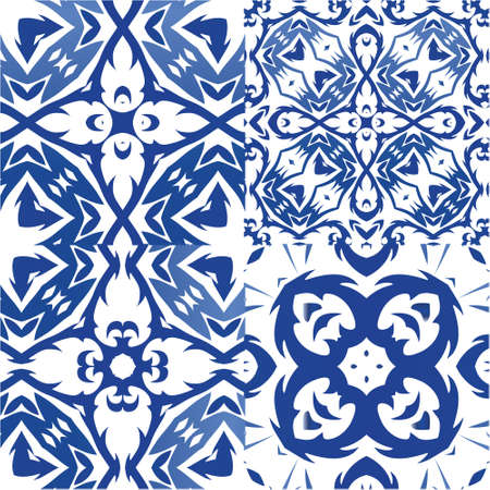 Ethnic ceramic tiles in portuguese azulejo. Kitchen design. Kit of vector seamless patterns. Blue vintage ornaments for surface texture, towels, pillows, wallpaper, print, web background.