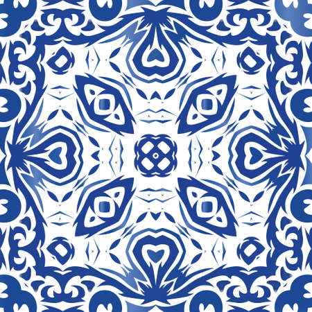 Antique azulejo tiles patchwork. Vector seamless pattern elements. Modern design. Blue spain and portuguese decor for bags, smartphone cases, T-shirts, linens or scrapbooking.