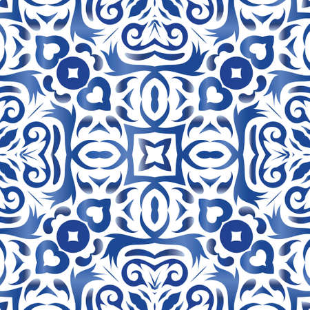 Antique azulejo tiles patchwork. Minimal design. Vector seamless pattern theme. Blue spain and portuguese decor for bags, smartphone cases, T-shirts, linens or scrapbooking.