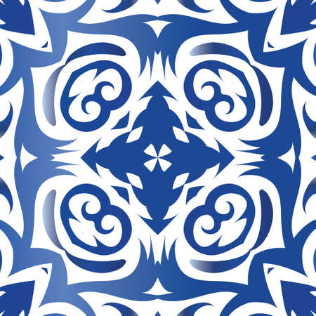 Ceramic tiles azulejo portugal. Modern design. Vector seamless pattern trellis. Blue ethnic background for T-shirts, scrapbooking, linens, smartphone cases or bags.