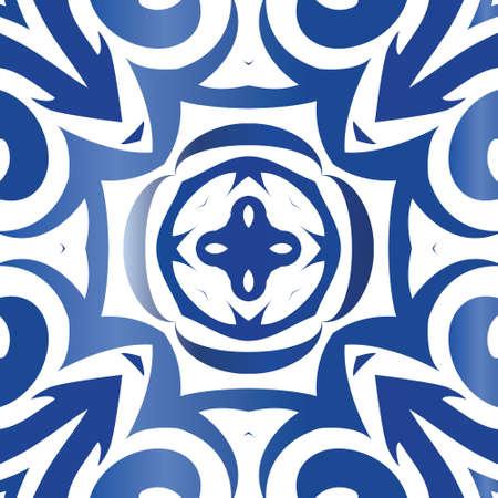 Keramikfliesen azulejo portugal. Vektor nahtlose Muster Textur. Farbiges Design. Blauer ethnischer Hintergrund für T-Shirts, Scrapbooking, Bettwäsche, Smartphone-Hüllen oder Taschen.