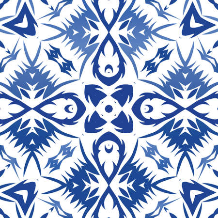 Decorative color ceramic azulejo tiles. Graphic design. Vector seamless pattern trellis. Blue folk ethnic ornament for print, web background, surface texture, towels, pillows, wallpaper.