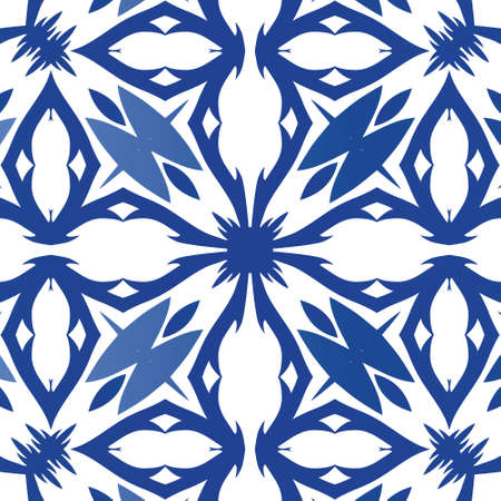 Ceramic tiles azulejo portugal. Stylish design. Vector seamless pattern watercolor. Blue ethnic background for T-shirts, scrapbooking, linens, smartphone cases or bags. Illustration
