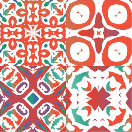 Traditional ornate mexican talavera. Collection of vector seamless patterns. Hand drawn design. Red abstract backgrounds for web backdrop, print, pillows, surface texture, wallpaper, towels.