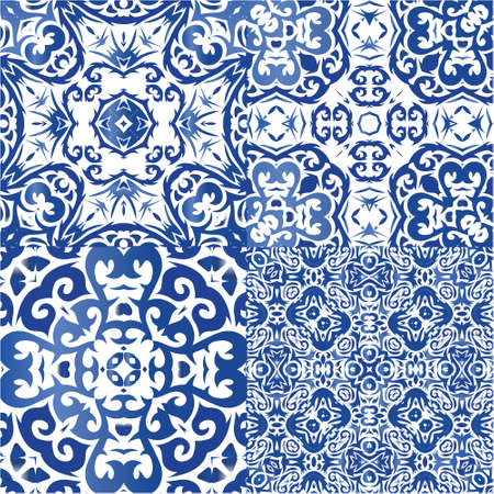 Traditional ornate portuguese azulejos. Collection of vector seamless patterns. Kitchen design. Blue abstract backgrounds for web backdrop, print, pillows, surface texture, wallpaper, towels.