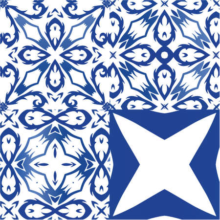 Antique portuguese azulejo ceramic. Set of vector seamless patterns. Stylish design. Blue floral and abstract decor for scrapbooking, smartphone cases, T-shirts, bags or linens. Illustration