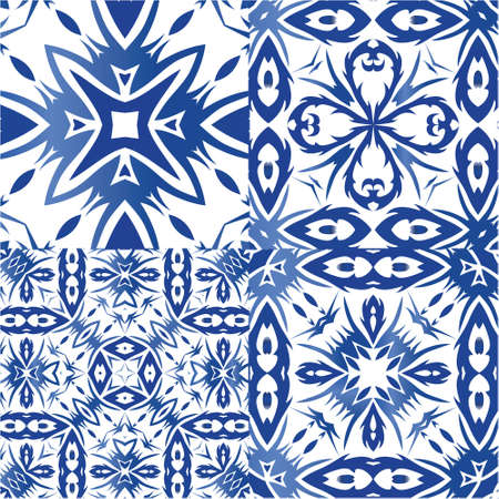 Ornamental azulejo portugal tiles decor. Colored design. Set of vector seamless patterns. Blue gorgeous flower folk prints for linens, smartphone cases, scrapbooking, bags or T-shirts.