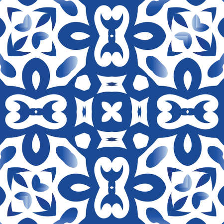 Antique portuguese azulejo ceramic. Geometric design. Vector seamless pattern arabesque. Blue floral and abstract decor for scrapbooking, smartphone cases, T-shirts, bags or linens.