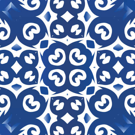 Ornamental azulejo portugal tiles decor. Vector seamless pattern collage. Fashionable design. Blue gorgeous flower folk print for linens, smartphone cases, scrapbooking, bags or T-shirts. Illustration