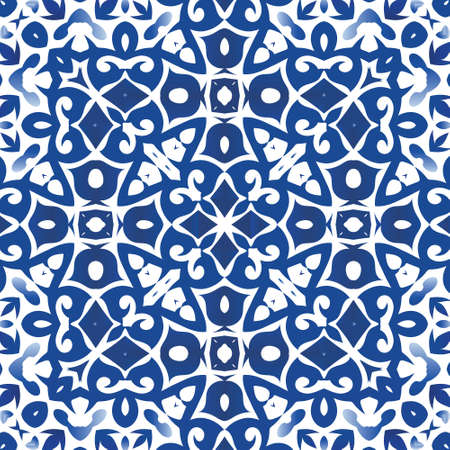 Ethnic ceramic tile in portuguese azulejo. Vector seamless pattern arabesque. Colored design. Blue vintage ornament for surface texture, towels, pillows, wallpaper, print, web background.