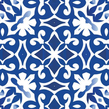 Portuguese ornamental azulejo ceramic. Vector seamless pattern template. Bathroom design. Blue vintage backdrop for wallpaper, web background, towels, print, surface texture, pillows. Illustration