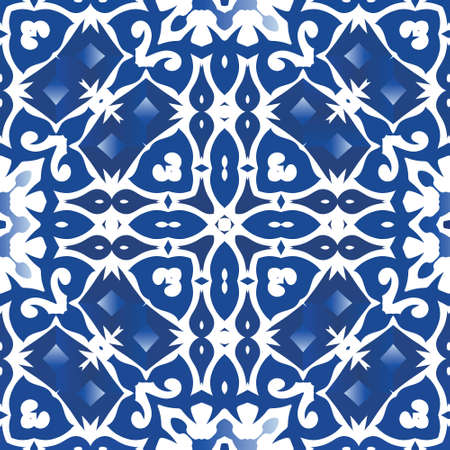 Antique azulejo tiles patchwork. Modern design. Vector seamless pattern illustration. Blue spain and portuguese decor for bags, smartphone cases, T-shirts, linens or scrapbooking.
