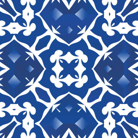 Antique portuguese azulejo ceramic. Vector seamless pattern concept. Creative design. Blue floral and abstract decor for scrapbooking, smartphone cases, T-shirts, bags or linens.