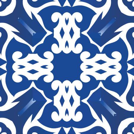 Portuguese vintage azulejo tiles. Vector seamless pattern template. Modern design. Blue antique background for pillows, print, wallpaper, web backdrop, towels, surface texture.