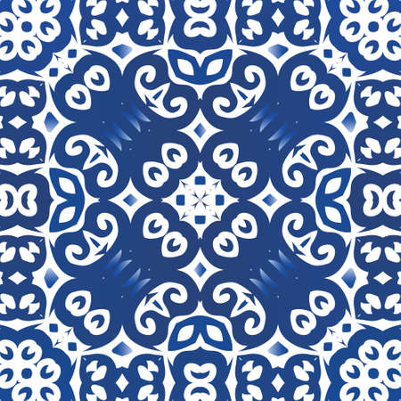 Ethnic ceramic tile in portuguese azulejo. Fashionable design. Vector seamless pattern flyer. Blue vintage ornament for surface texture, towels, pillows, wallpaper, print, web background.