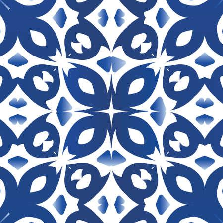 Ethnic ceramic tile in portuguese azulejo. Kitchen design. Vector seamless pattern flyer. Blue vintage ornament for surface texture, towels, pillows, wallpaper, print, web background. Illustration