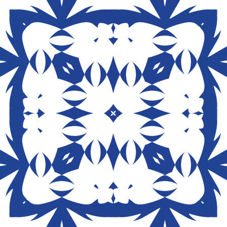 Ornamental azulejo portugal tiles decor. Vector seamless pattern trellis. Universal design. Blue gorgeous flower folk print for linens, smartphone cases, scrapbooking, bags or T-shirts.