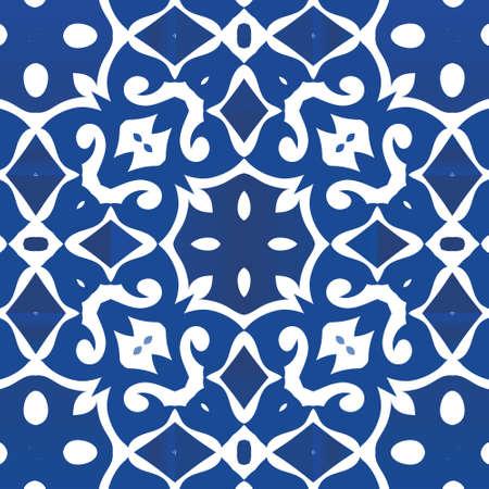 Ethnic ceramic tile in portuguese azulejo. Vector seamless pattern illustration. Original design. Blue vintage ornament for surface texture, towels, pillows, wallpaper, print, web background.