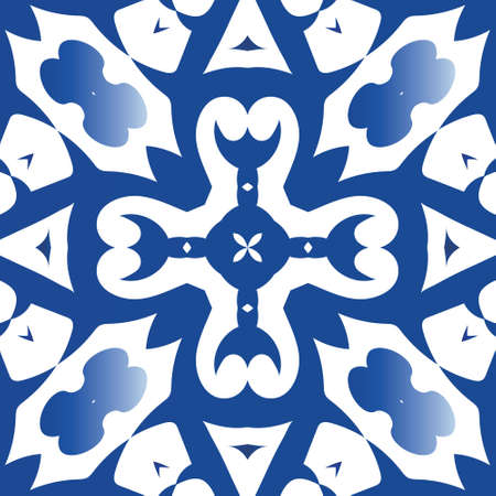 Antique portuguese azulejo ceramic. Bathroom design. Vector seamless pattern template. Blue floral and abstract decor for scrapbooking, smartphone cases, T-shirts, bags or linens.