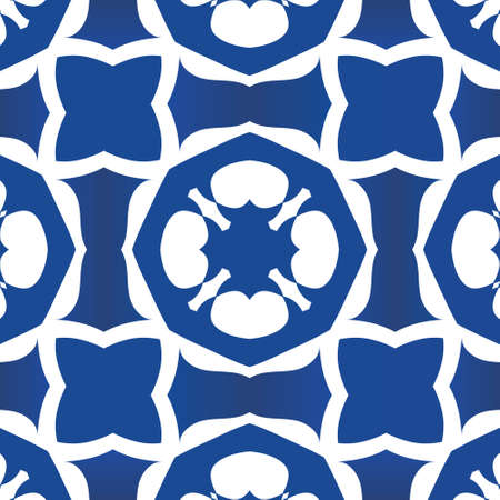 Antique portuguese azulejo ceramic. Vector seamless pattern poster. Geometric design. Blue floral and abstract decor for scrapbooking, smartphone cases, T-shirts, bags or linens.