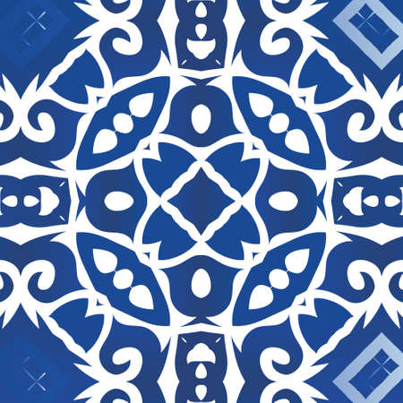Portuguese ornamental azulejo ceramic. Fashionable design. Vector seamless pattern concept. Blue vintage backdrop for wallpaper, web background, towels, print, surface texture, pillows.