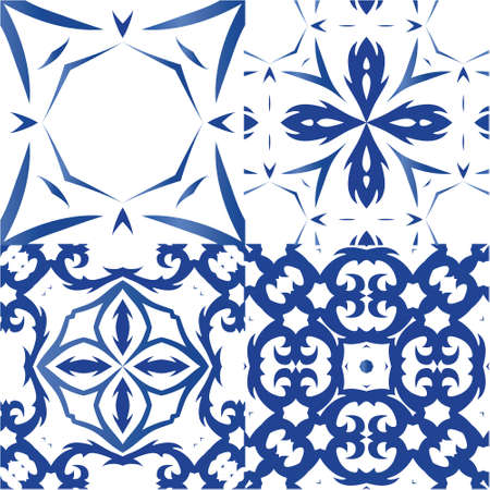 Ornamental azulejo portugal tiles decor. Set of vector seamless patterns. Fashionable design. Blue gorgeous flower folk prints for linens, smartphone cases, scrapbooking, bags or T-shirts.
