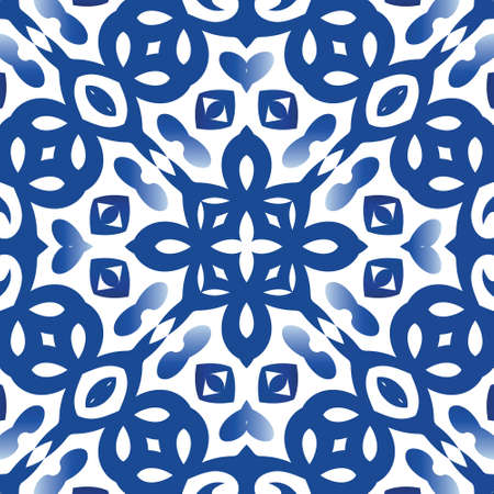 Ethnic ceramic tile in portuguese azulejo. Colored design. Vector seamless pattern template. Blue vintage ornament for surface texture, towels, pillows, wallpaper, print, web background. Illustration