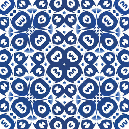 Ornamental azulejo portugal tiles decor. Vector seamless pattern template. Colored design. Blue gorgeous flower folk print for linens, smartphone cases, scrapbooking, bags or T-shirts.
