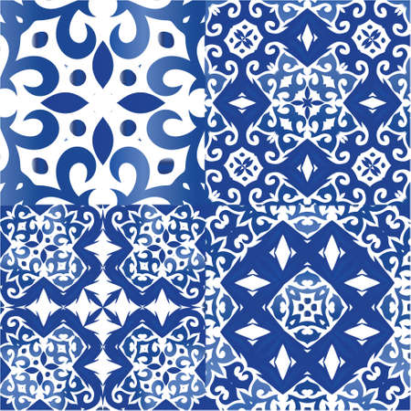 Traditional ornate portuguese azulejos. Graphic design. Collection of vector seamless patterns. Blue abstract backgrounds for web backdrop, print, pillows, surface texture, wallpaper, towels.