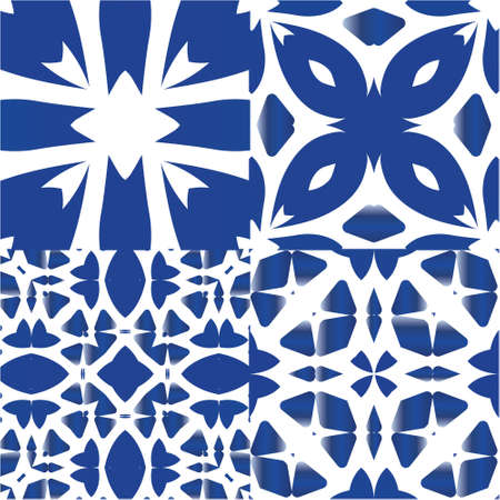 Antique azulejo tiles patchworks. Set of vector seamless patterns. Minimal design. Blue spain and portuguese decor for bags, smartphone cases, T-shirts, linens or scrapbooking.