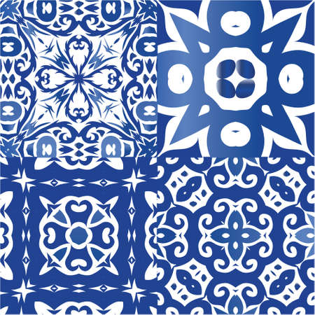 Antique portuguese azulejo ceramic. Universal design. Kit of vector seamless patterns. Blue floral and abstract decor for scrapbooking, smartphone cases, T-shirts, bags or linens.