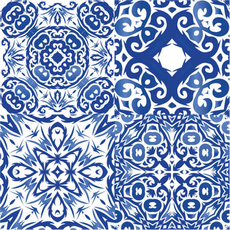 Antique azulejo tiles patchworks. Kit of vector seamless patterns. Hand drawn design. Blue spain and portuguese decor for bags, smartphone cases, T-shirts, linens or scrapbooking.