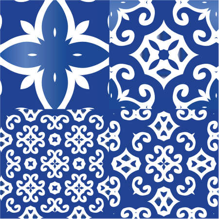 Decorative color ceramic azulejo tiles. Set of vector seamless patterns. Universal design. Blue folk ethnic ornaments for print, web background, surface texture, towels, pillows, wallpaper.