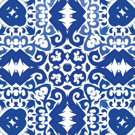 Ornamental azulejo portugal tiles decor. Vector seamless pattern poster. Bathroom design. Blue gorgeous flower folk print for linens, smartphone cases, scrapbooking, bags or T-shirts.