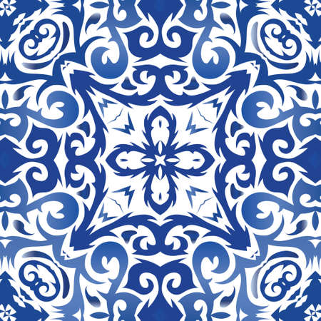 Ethnic ceramic tile in portuguese azulejo. Vector seamless pattern poster. Graphic design. Blue vintage ornament for surface texture, towels, pillows, wallpaper, print, web background.