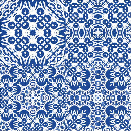 Portuguese ornamental azulejo ceramic. Collection of vector seamless patterns. Kitchen design. Blue vintage backdrops for wallpaper, web background, towels, print, surface texture, pillows.