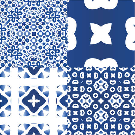 Antique azulejo tiles patchworks. Creative design. Set of vector seamless patterns. Blue spain and portuguese decor for bags, smartphone cases, T-shirts, linens or scrapbooking.