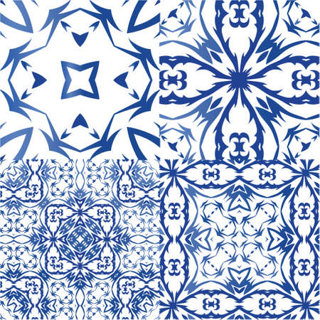Ethnic ceramic tiles in portuguese azulejo. Stylish design. Kit of vector seamless patterns. Blue vintage ornaments for surface texture, towels, pillows, wallpaper, print, web background.