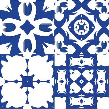 Ethnic ceramic tiles in portuguese azulejo. Kit of vector seamless patterns. Graphic design. Blue vintage ornaments for surface texture, towels, pillows, wallpaper, print, web background.