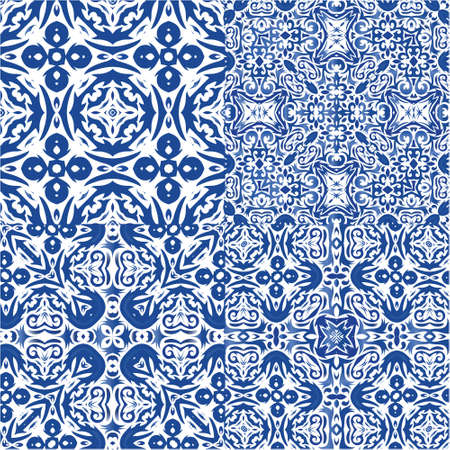Antique portuguese azulejo ceramic. Kit of vector seamless patterns. Universal design. Blue floral and abstract decor for scrapbooking, smartphone cases, T-shirts, bags or linens.