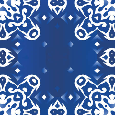 Ethnic ceramic tile in portuguese azulejo. Universal design. Vector seamless pattern watercolor. Blue vintage ornament for surface texture, towels, pillows, wallpaper, print, web background.