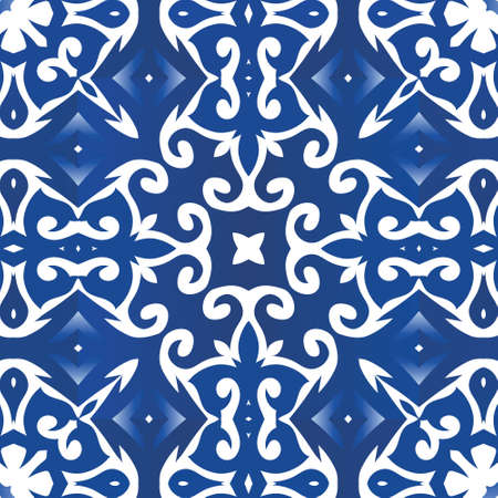 Traditional ornate portuguese azulejo. Vector seamless pattern flyer. Fashionable design. Blue abstract background for web backdrop, print, pillows, surface texture, wallpaper, towels.