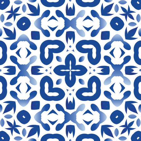 Antique azulejo tiles patchwork. Stylish design. Vector seamless pattern collage. Blue spain and portuguese decor for bags, smartphone cases, T-shirts, linens or scrapbooking.