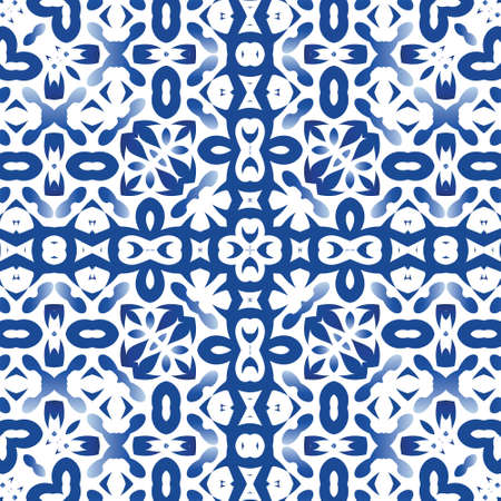 Antique azulejo tiles patchwork. Stylish design. Vector seamless pattern template. Blue spain and portuguese decor for bags, smartphone cases, T-shirts, linens or scrapbooking.