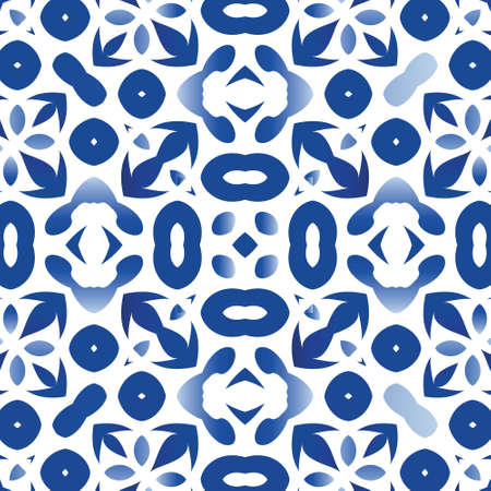 Decorative color ceramic azulejo tiles. Vector seamless pattern frame. Stylish design. Blue folk ethnic ornament for print, web background, surface texture, towels, pillows, wallpaper.