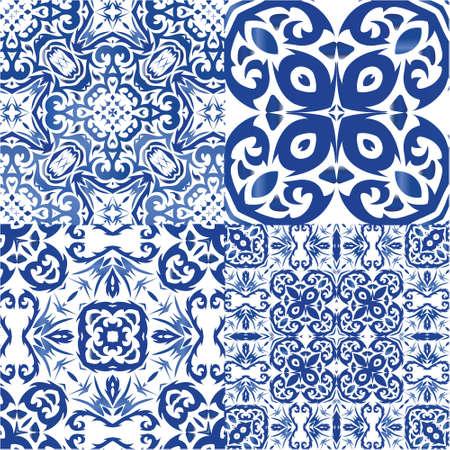 Antique azulejo tiles patchworks. Kit of vector seamless patterns. Minimal design. Blue spain and portuguese decor for bags, smartphone cases, T-shirts, linens or scrapbooking. Vektorgrafik