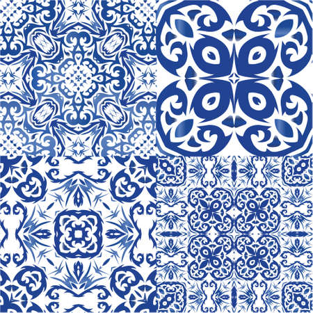 Antique azulejo tiles patchworks. Kit of vector seamless patterns. Minimal design. Blue spain and portuguese decor for bags, smartphone cases, T-shirts, linens or scrapbooking.