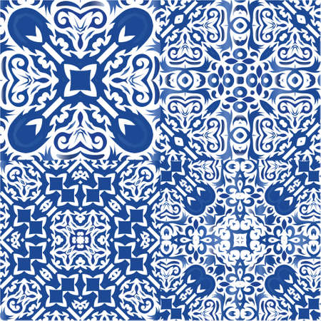 Ornamental azulejo portugal tiles decor. Collection of vector seamless patterns. Minimal design. Blue gorgeous flower folk prints for linens, smartphone cases, scrapbooking, bags or T-shirts.